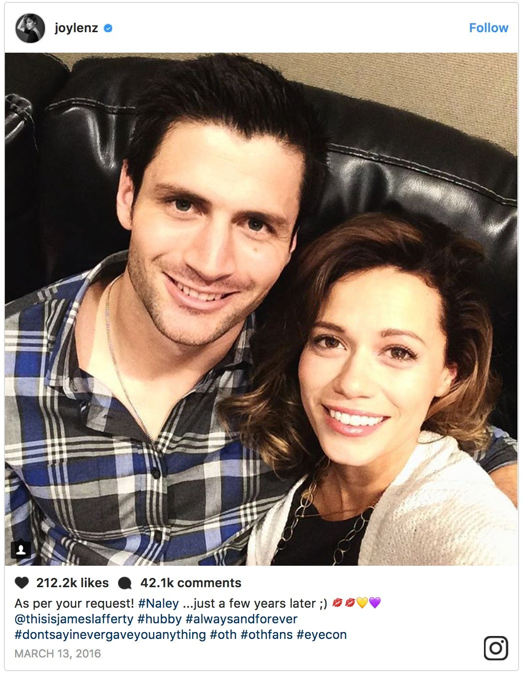 James Lafferty and his TV wife Bethany Joy Lenz