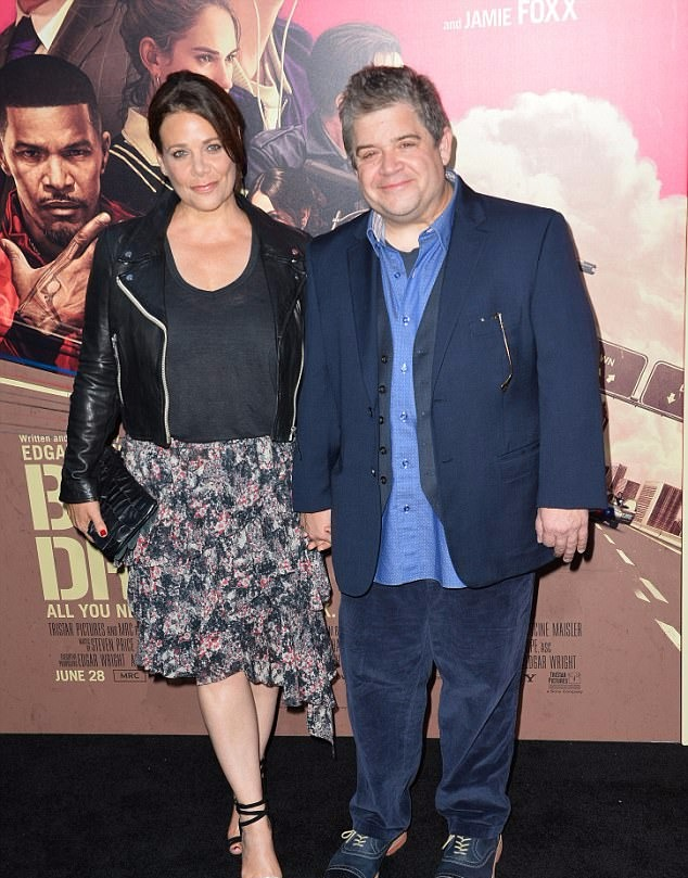 Meredith Salanger and Patton Oswalt holding hands during the premiere of Baby Driver.