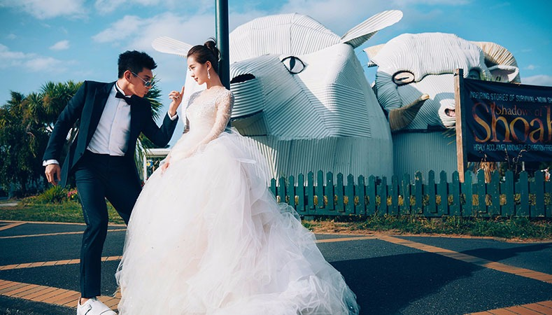 Liu is wearing her beautiful wedding dress, her husband Nicky Wu strikes a pose pointing a finger at her and Liu is playing it coy.