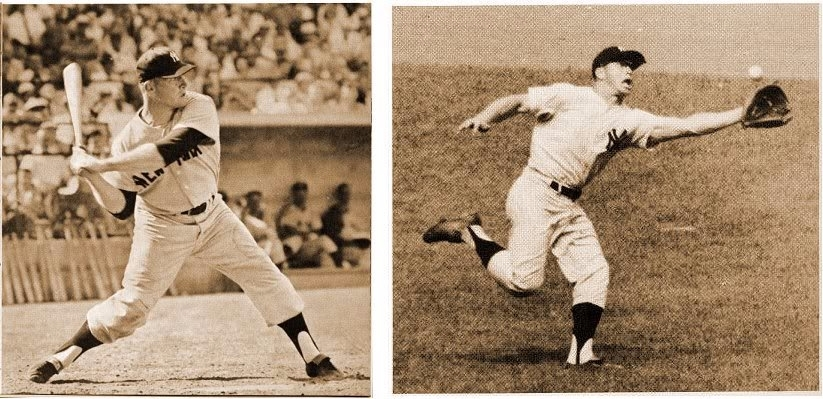 Side by side pictures of Mickey Mantle, Mickey Mantle swinging baseball bat in left, Mickey Mantle catching a ball in right