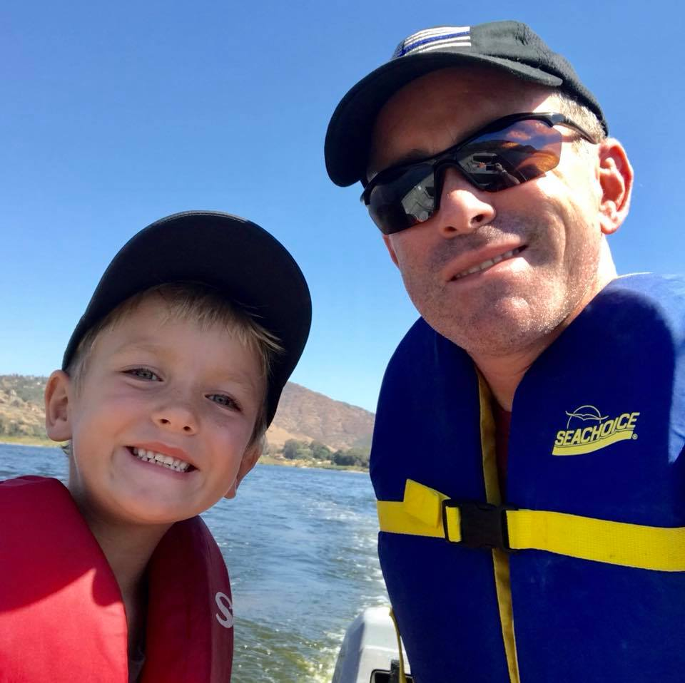 Craig Gottlieb taking a selfie with his son