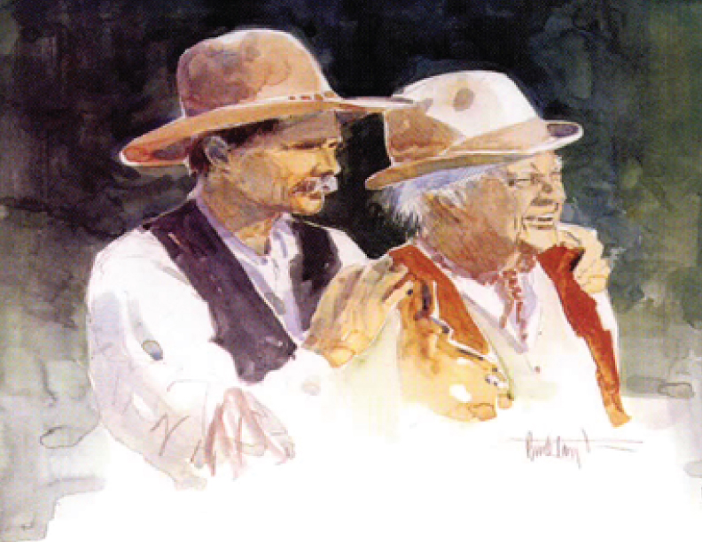 Painting of Buck Taylor with his dad Dub Taylor