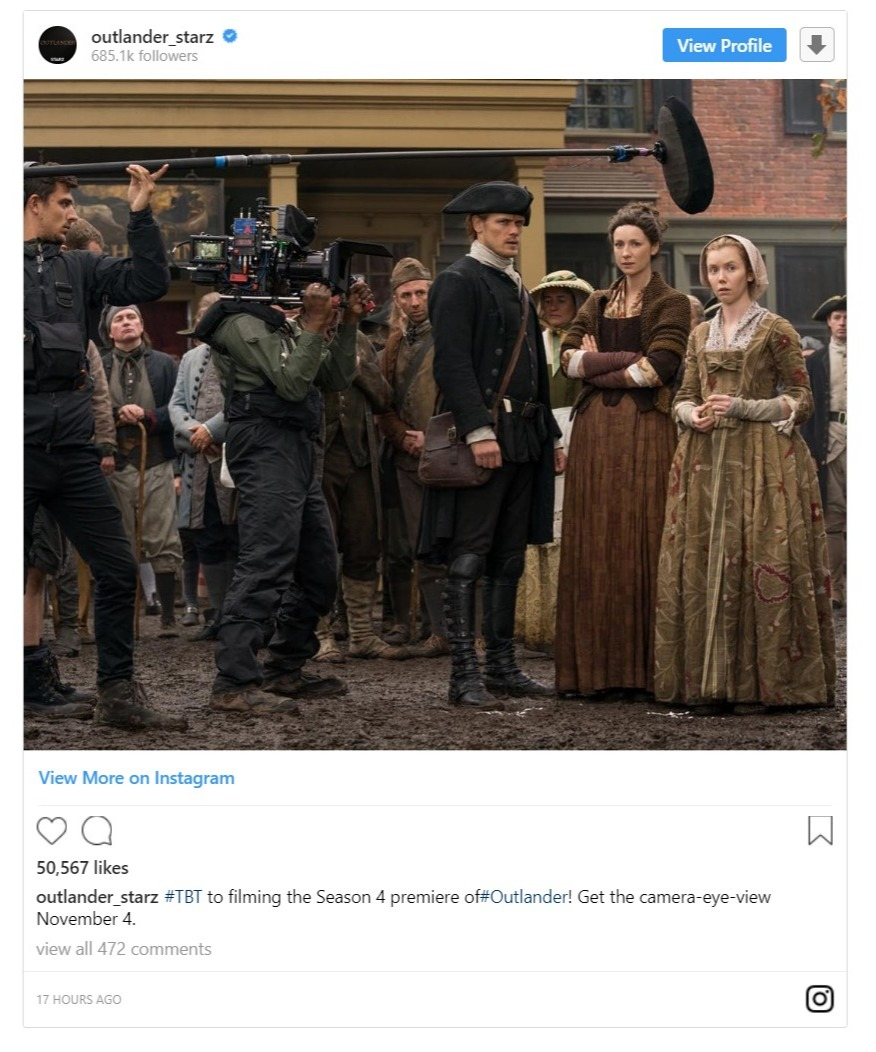 Outlander Starz' sharing a throwback picture from season 4 filming