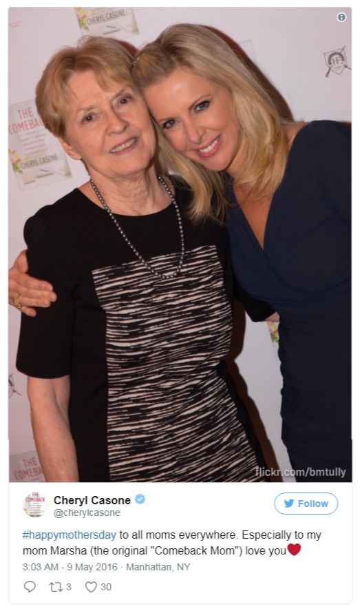 Cheryl Casone wished Mother Day's to her mom through this tweet