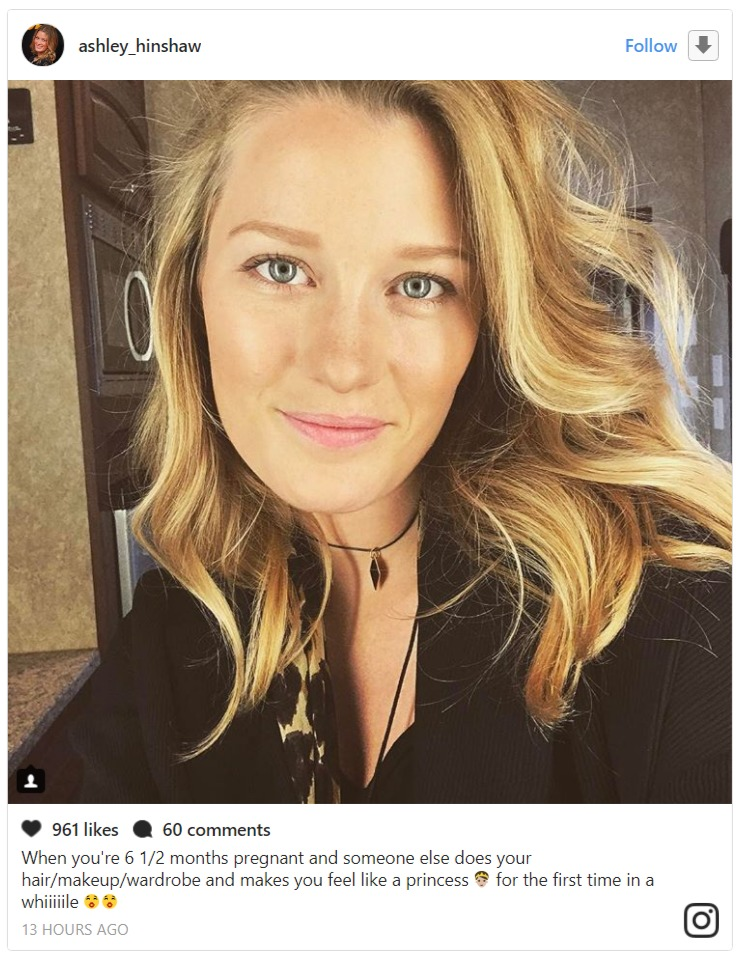 Ashley Hinshaw's Instagram photo. She shared this image on 2 August 2017 to confirm she's pregnant.