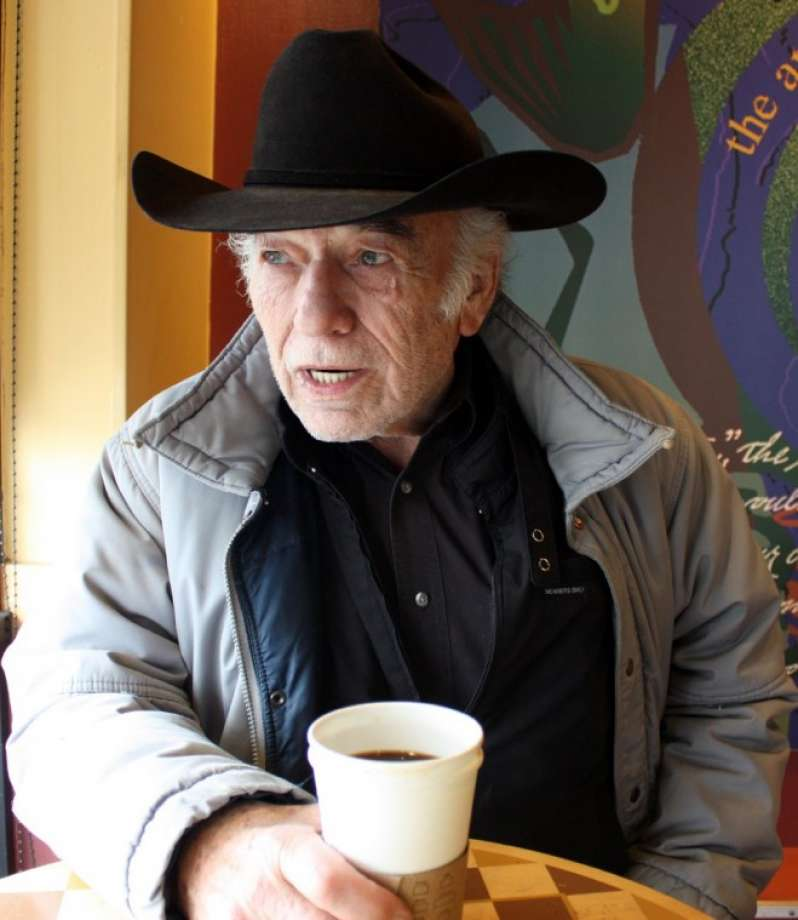 Actor James Drury enjoying a cup of coffee in Huston James Drury currently lives with his wife,  Carl Ann Head Drury