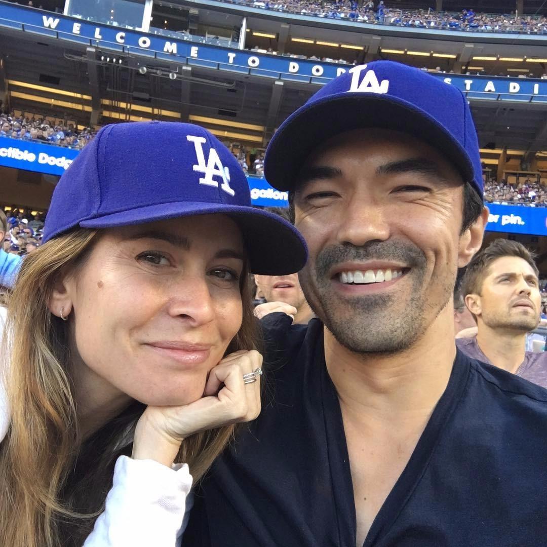 Ian Anthony Dale Nicole Garippo wearing LA dodgers cap selfie