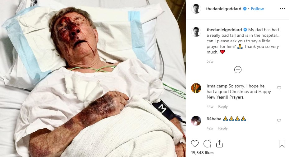 Actor Daniel Goddard asked his fans to pray for his dad's recovery on Instagram