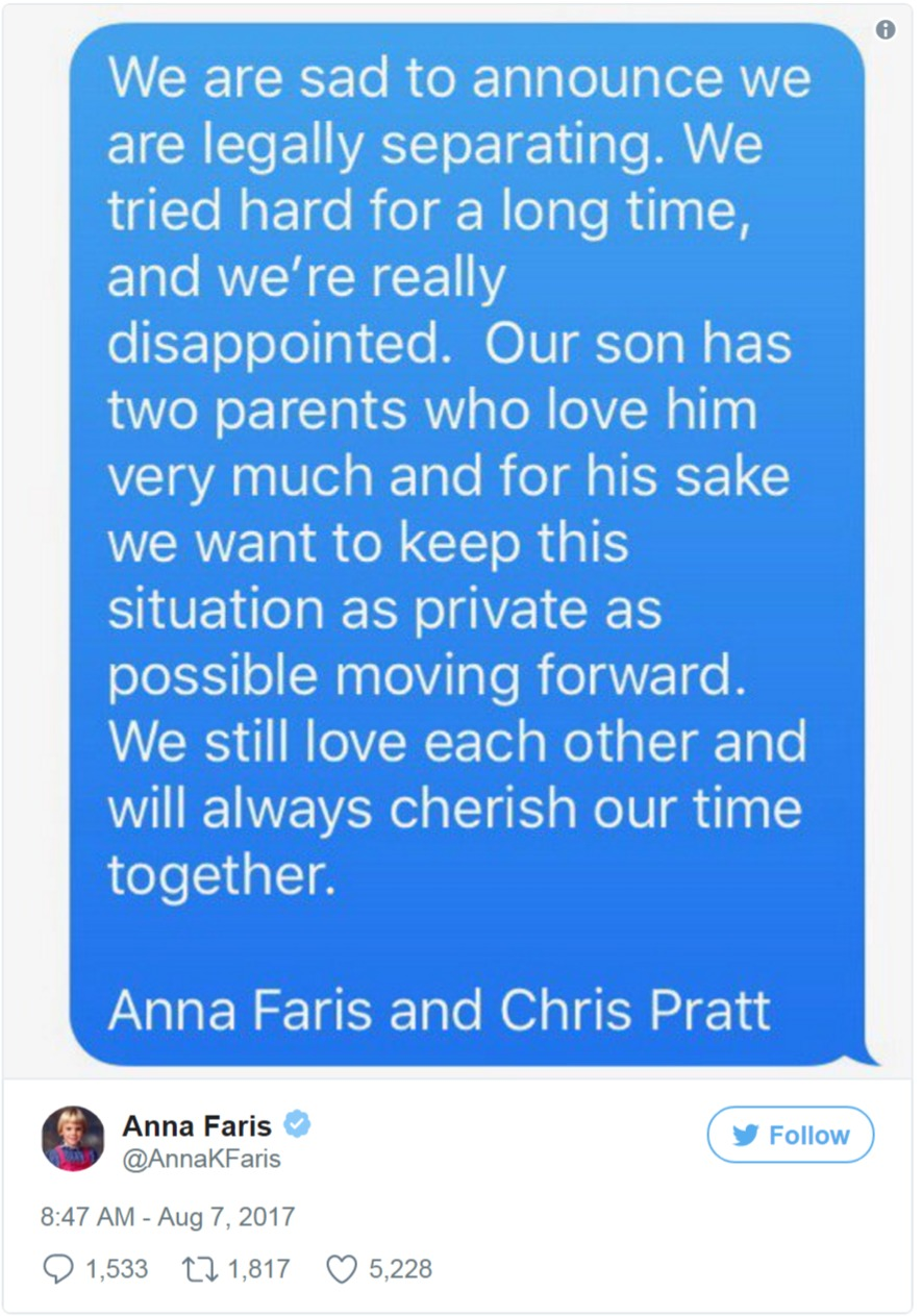 Anna Faris posted this picture on her Twitter account to announce that she and Chris Pratt are separating.