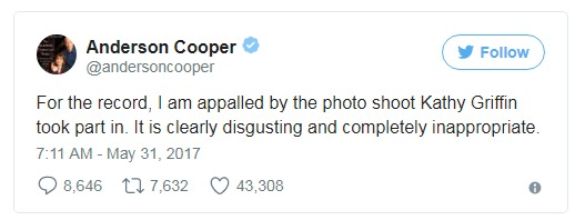 Anderson Cooper called Kathy Griffin's joke of beheading the U.S. President Donald Trump as 'disgusting and completely inappropriate'.