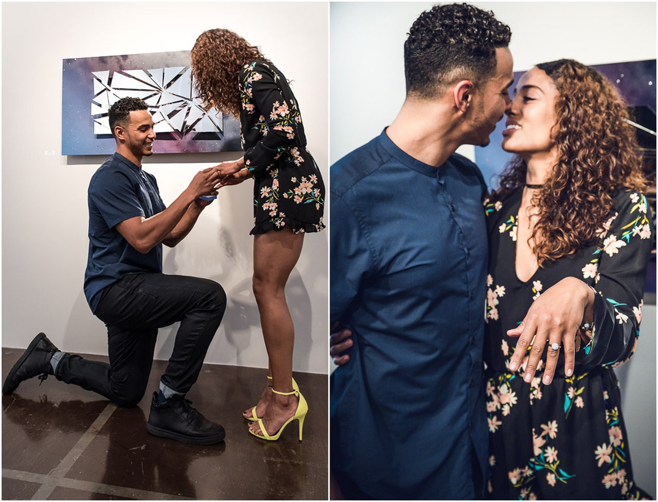 Collage of Skylar Diggins and Daniel Smith's engagement. In one image, Daniel is kneeling down, and in the other image, Skylar is flaunting her wedding ring.