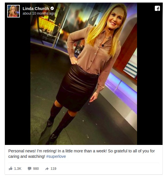 Meteorologist sharing a post on her official Facebook page to deliver the news of her retirement.