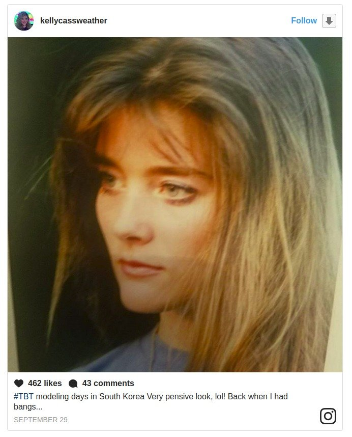 Kelly Cass Sharing a image form her young days. She looks so beautiful with the bangs and brown hair.