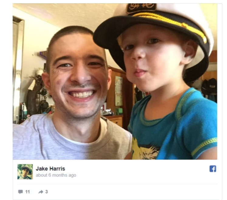 Jake Harris shares a snap with a kid on his Facebook account