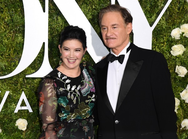 The couple smile for the cameras at the Tony Awards. Both are wearing black
