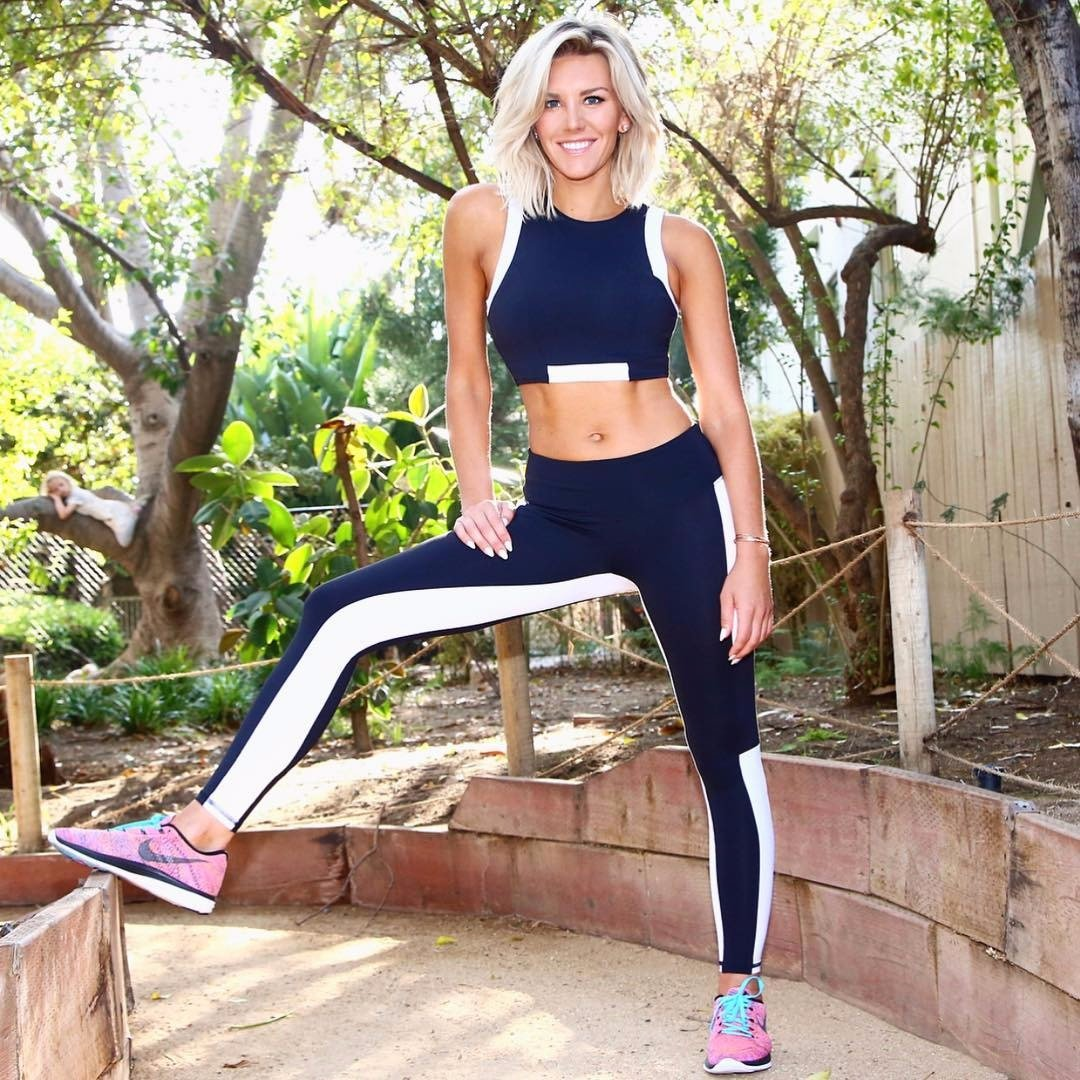 Charissa Thompson is in her yoga pants, she is ready for her workout routines.