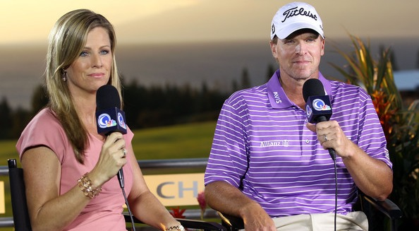 The Golf Channel reporter Kelly Tilghman with Steve Stricker.