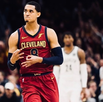 Jordan Clarkson makes a hand gesture during the game.