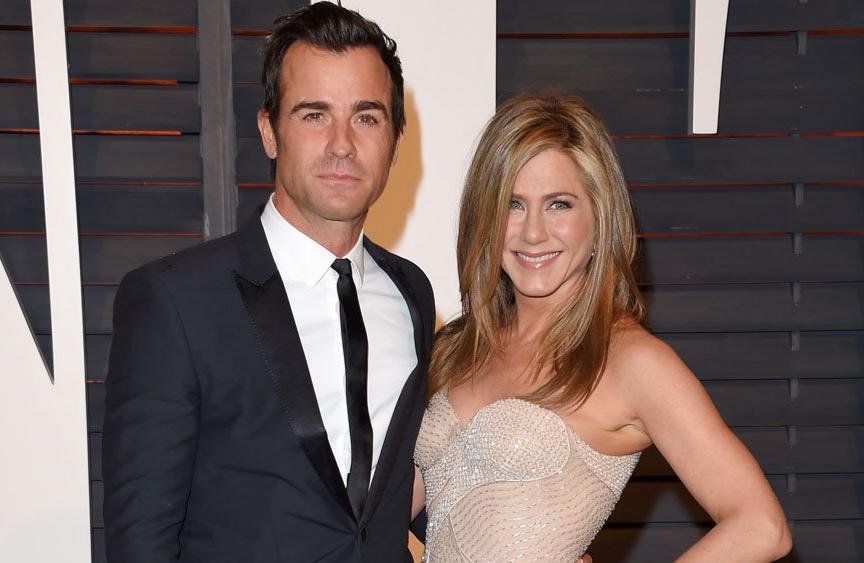 Jennifer Aniston arrives at the 2015 Oscars with her ex-husband, Justin Theroux.