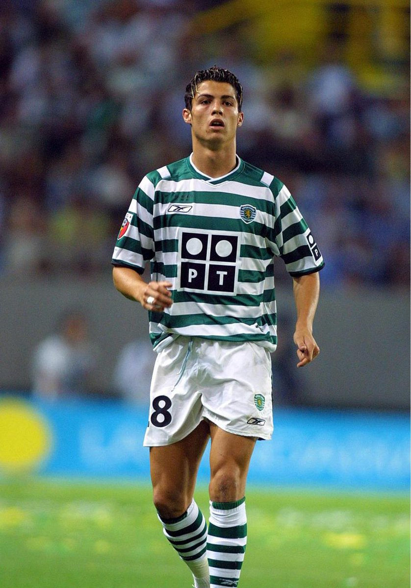Cristiano Ronaldo on the field in his Sporting jersey