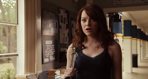 Emma Stone does enough justice to her character Olive Penderghast. The picture was captured when she acted stunned in one of her scene in Easy A .