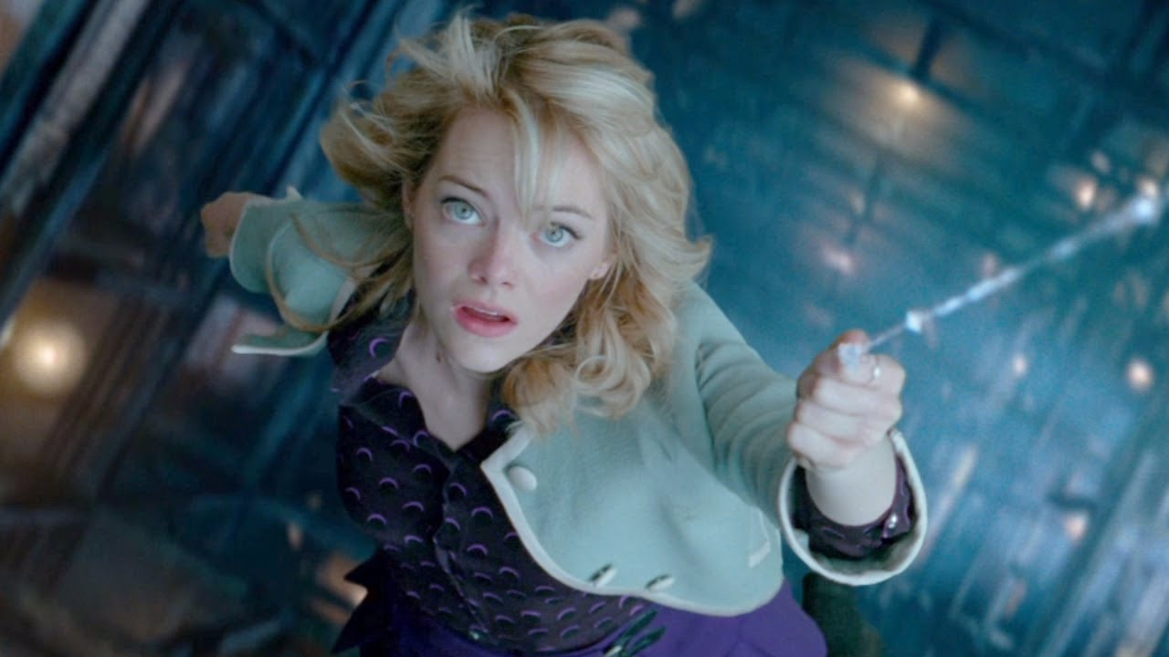 The beautiful blonde actress from The Amazing Spider-Man Emma Stone performing one of her scenes from the movie.