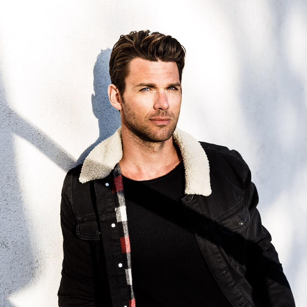 Kevin McGarry is wearing black jeans jacket with furry collar