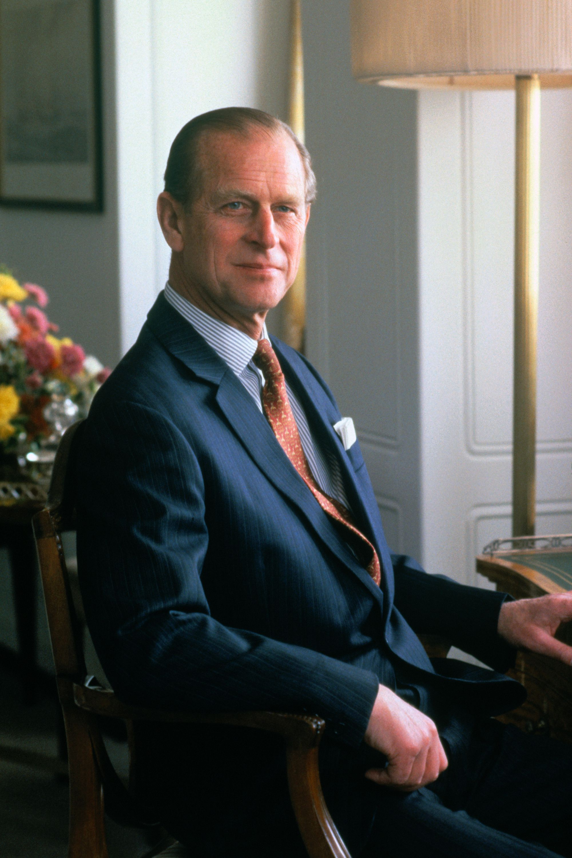 Prince Philip sitting on a chair