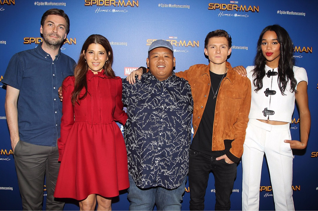 Spider-Man: Homecoming cast: from left, Jon Watts, Marisa Tomei, Jacob Batalon. Tom Holland, Laura Harrier