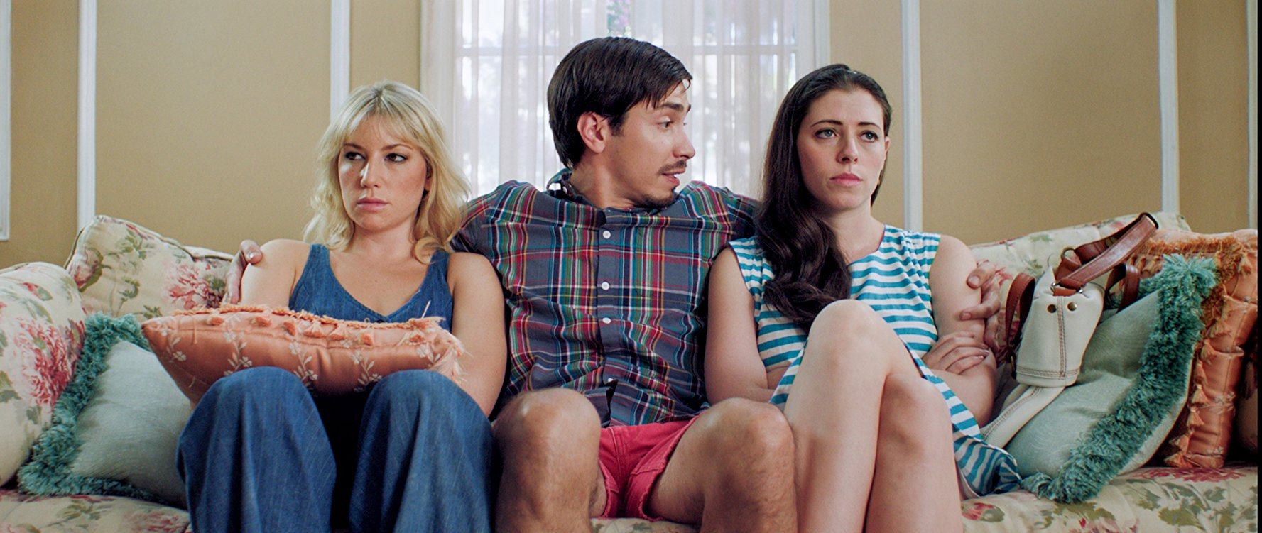 Lauren Miller along with Ari Graynor and Justin Long on the set of For a Good Time, Call....