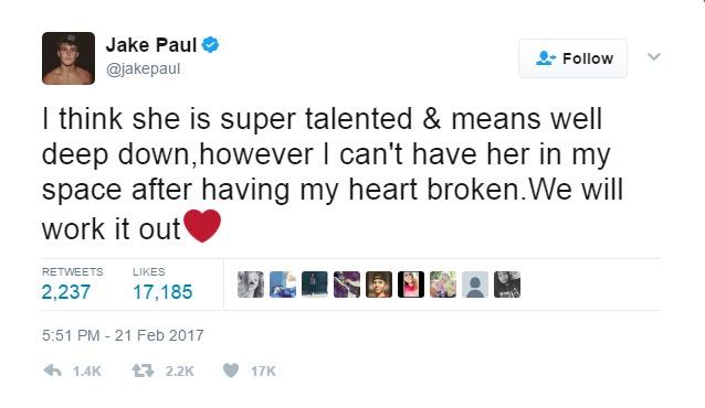 Jake Paul tweet about Alissa Violet