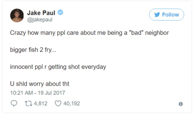 Jake Paul tweet about the recent backlash on his bad behaviour