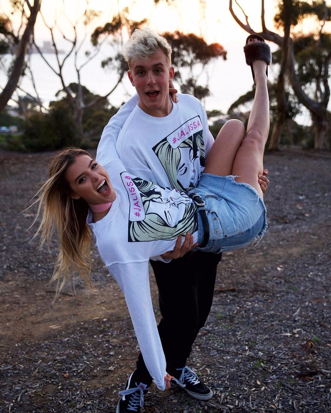 Jake Paul holding Alissa Violet in her arms
