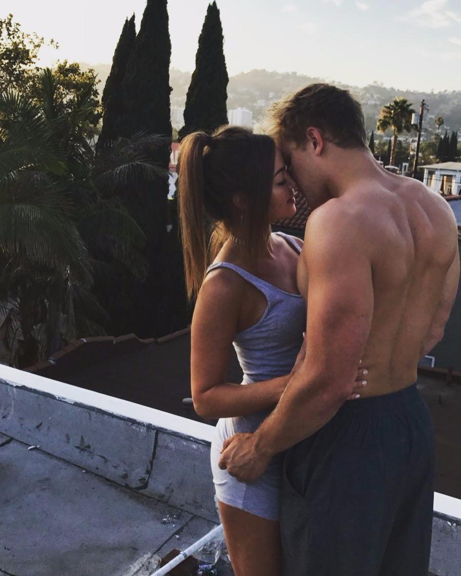 Jake Paul shirtless, lovingly touching heads with girlfriend Erika Costll