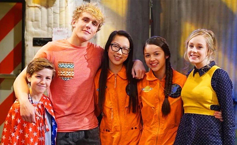 Jake Paul (far right) with the cast of his Disney show Bizaardvark