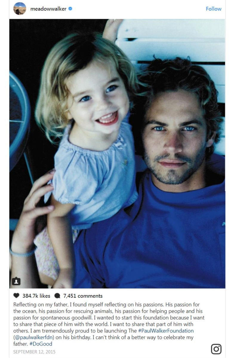 Meadow Walker expresses gratitude towards her father in an occasion of launch of The Paul Walker Foundation via Instagram.