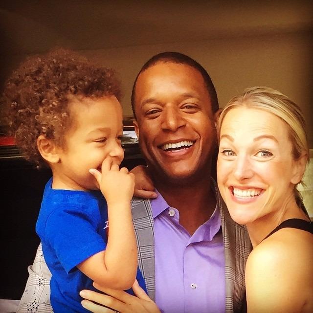 Lindsay Czarniak smiling, Craig Melvin holding their son
