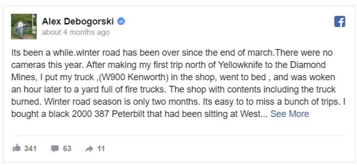 Alex Debogorski's Facebook post regarding the new season of Ice Road Truckers