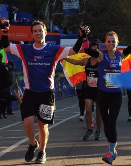 Courtney Reagan running marathon with her sweetheart Jared Baker in New York in 2013