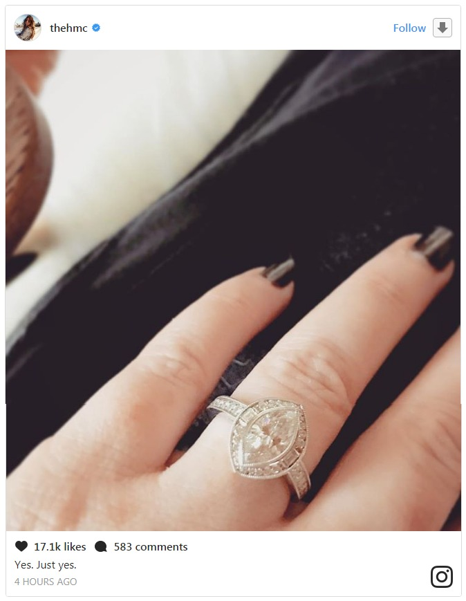 Holly Marie Combs flaunting her engagement ring via Instagram post.