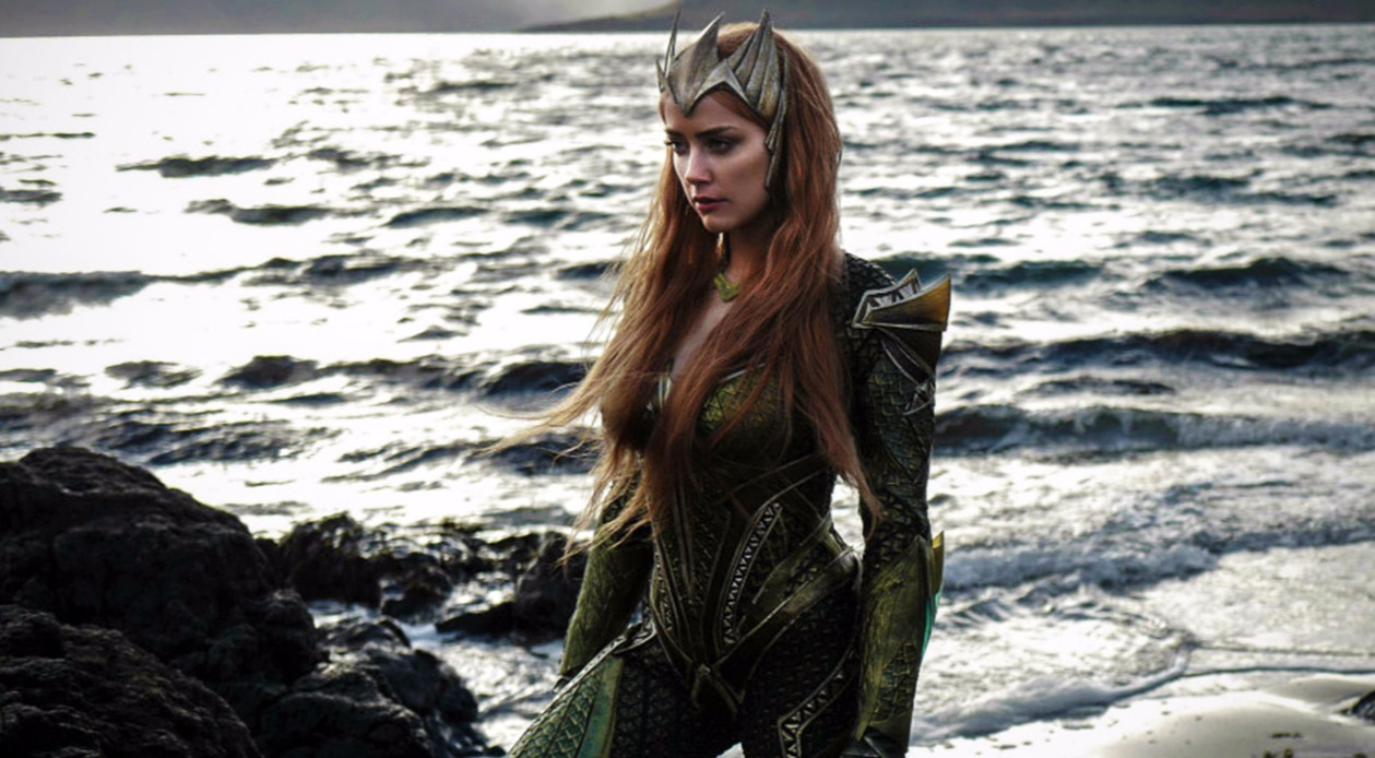 Amber Heard in her costume as the character 'Mera' from DC movie Aquaman