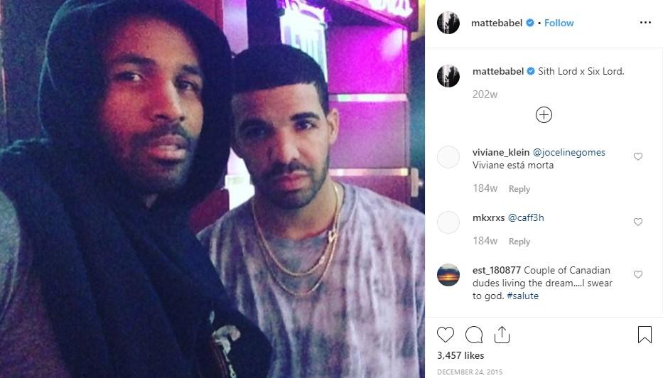 Actor Matte Babel with rapper/singer/songwriter Drake