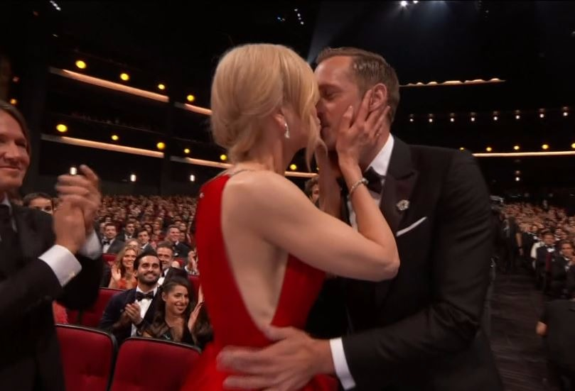 Nicole Kidman couldn't contain her excitement at the 2017 Emmy Awards as she kissed Alexander Skarsgard