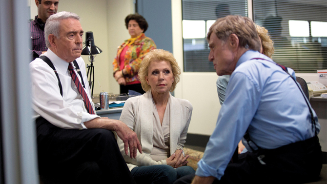 Mary Mapes with show host Dan Rather and actors Cate Blanchett and Robert Redford