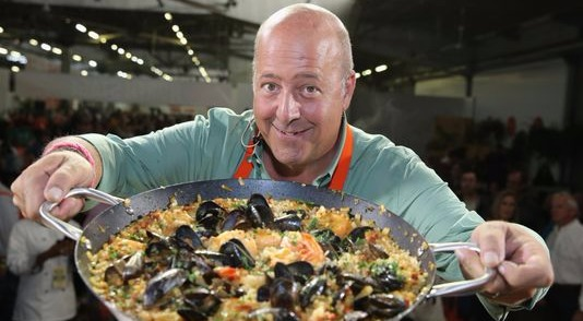 Andrew Zimmern running a presentation at Wine & Food Festival in New York City