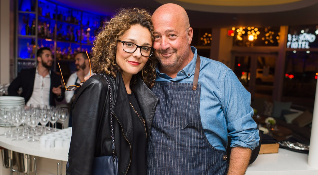 Andrew Zimmern with wife Rishia Haas