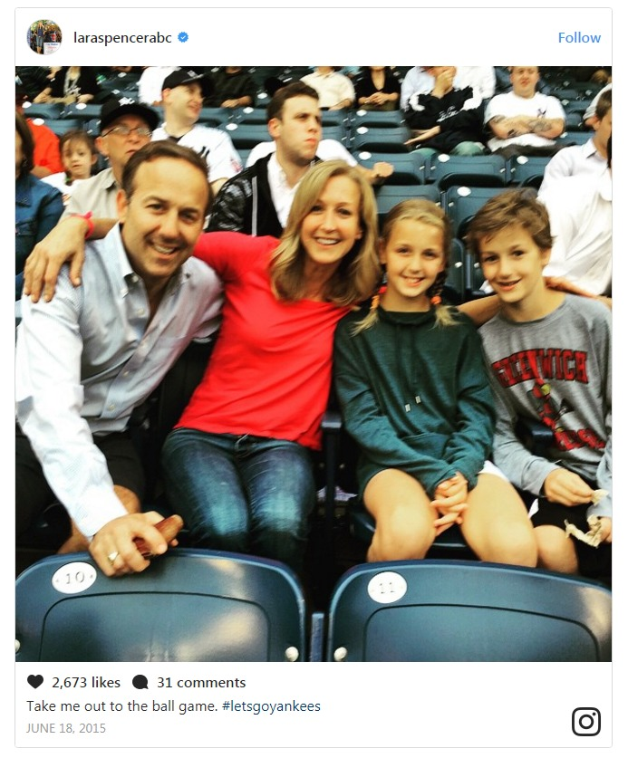 Lara Spencer and David Haffenreffer together with their kids at New York Yankees game, a week after their divorce.