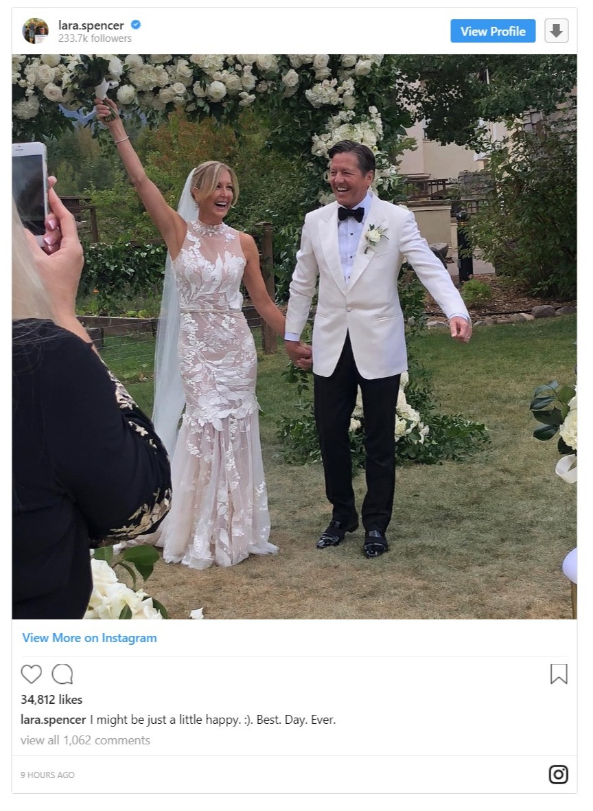 Lara Spencer's Instagram post with her now-husband in their wedding dresses