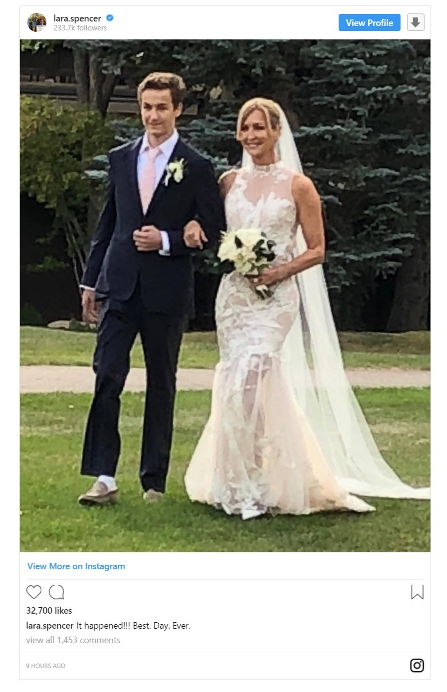 Lara Spencer shares a picture with her son, Duff on her Instagram on the occasion of her wedding. Her son is walking her down the aisle.
