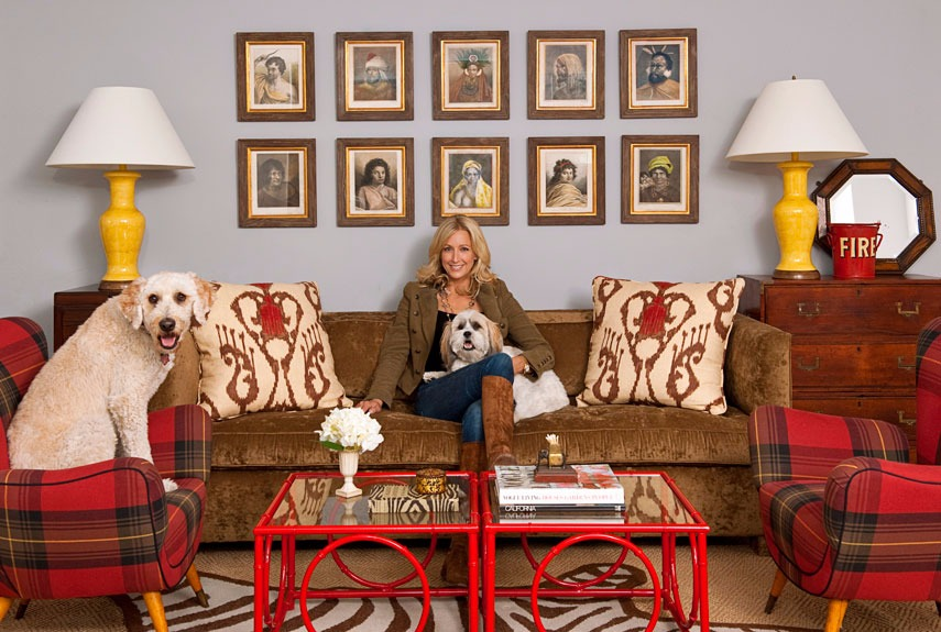 Inside interior designer Lara Spencer's home. She is photographed with her dogs.